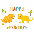 cute triceratops dinos and hand drawn text vector image vector image
