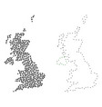 dot contour map of united kingdom vector image