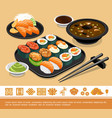 flat traditional japanese food template vector image