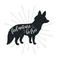 fox vintage logo template with text d vector image
