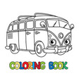funny small retro bus with eyes coloring book vector image