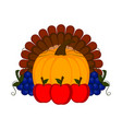 grapes apples and a pumpkin with turkey feathers vector image vector image