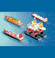 isometric oil rig cargo ship container lng vector image