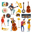jazz music cartoon set vector image