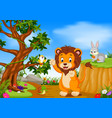 lion with mountain cliff scene vector image
