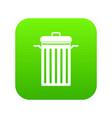 metal trash can icon digital green vector image vector image