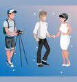 newlyweds photographing bride and groom vector image vector image