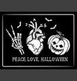 peace love halloween vector image