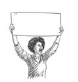 protest african american woman with empty sign vector image vector image