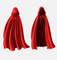 realistic set of red cloaks with hoods vector image