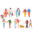 romantic couples walking together isolated on vector image