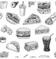 seamless pattern with fast food in sketch style vector image