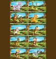 set animals in nature scenes vector image vector image