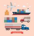 set cargo transportation vector image vector image
