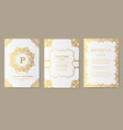 set of luxury gold artistic pages with logo vector image