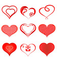 Set of red hearts vector image vector image