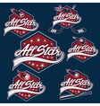 set vintage sports all star crests vector image