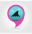 Shark fin pin map icon Summer Vacation vector image vector image