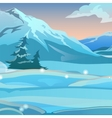 Snow valley with mountains and fir trees vector image