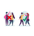 social distancing between boy and girl with masks vector image vector image