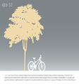 tree an bicycle over gray background vector image vector image