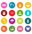 water icons set colorful circles vector image vector image