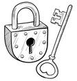 doodle lock key old vector image