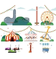 Amusement park with attractions set vector image