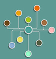 Multicolored circles connected by lines vector image