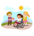 a boy giving a present to a little disabled girl vector image vector image
