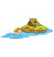 A girl swimming near an island with tent vector image vector image