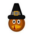 avatar of a turkey bird with a pilgrim hat vector image vector image