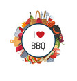 barbecue or grill elements around circle vector image vector image