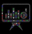 bright mesh 2d bar chart monitoring with flash vector image vector image