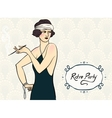 Brunette flapper girl vector image