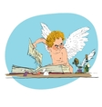 Bully angel pulls out the book page vector image vector image