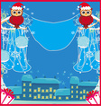 card with funny owls winter landscape vector image
