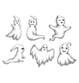 Cartoon halloween funny ghots icons vector image