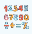 cartoon kids figures set of color numbers vector image vector image