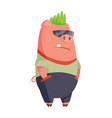 cartoon pig in youth clothes pank style with green vector image vector image