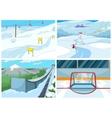 Cartoon set of backgrounds - sport infrastructure vector image