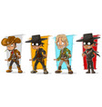 cartoon sheriff and cowboy character set vector image vector image