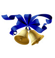 christmas bells with a blue ribbon isolated vector image vector image
