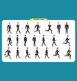 collection set of walking and running businessman