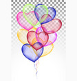 colored heart balloons isolated on white vector image vector image
