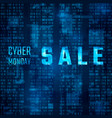 cyber monday sale promo on blue binary code vector image vector image