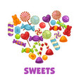 delicious sweets and lollipops in heart shape vector image vector image