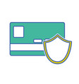 digital credit card with shield security vector image