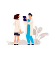 doctor holding x-ray medical workers talking vector image vector image