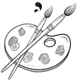 doodle artist art paint brush vector image vector image